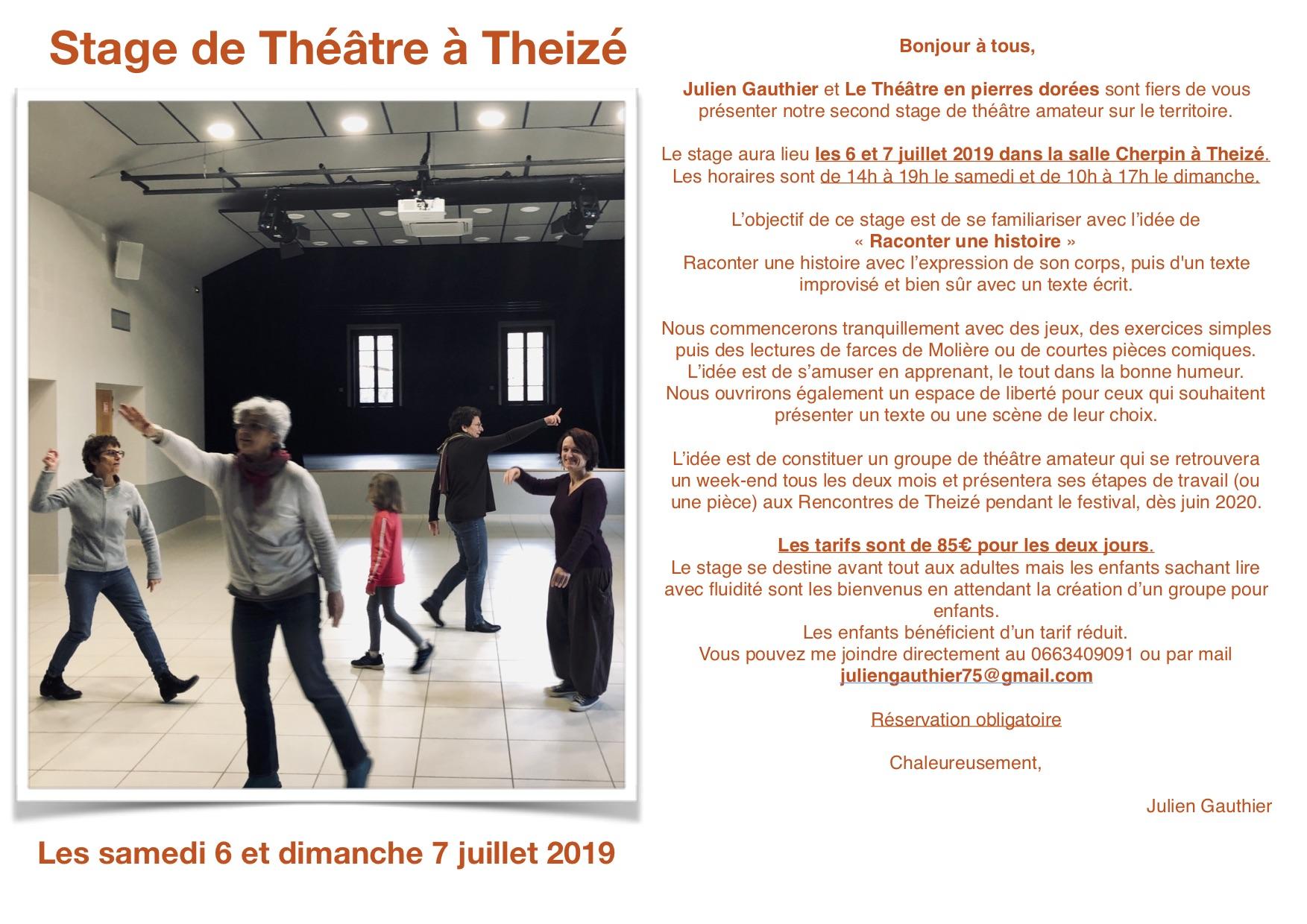 Plaquette stage de Théâtre Theizé